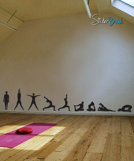 Vinyl Wall Decal Sticker Yoga Poses Silhouette Position 267