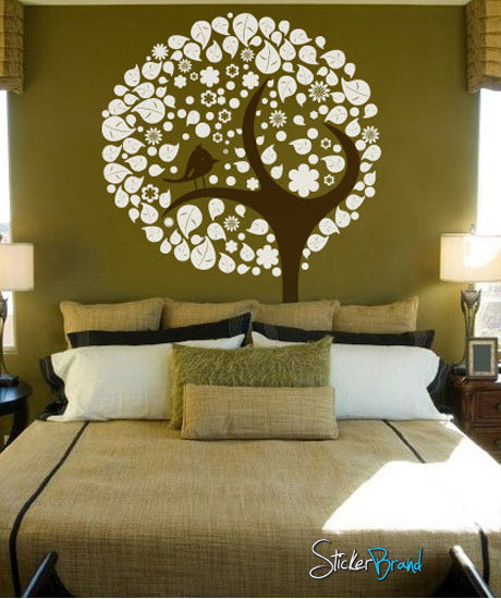 Vinyl Wall Decal Sticker Stylish Tree With Leaves Bird #269