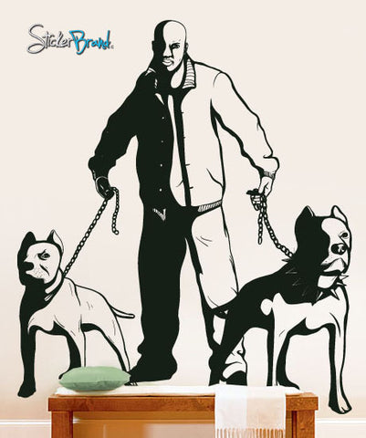 Vinyl Wall Decal Sticker Owner with 2 Pit Bull Dogs #279