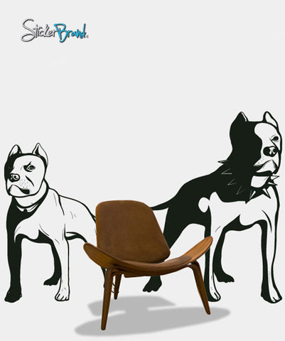 Vinyl Wall Decal Sticker Pit Bull Dogs #280