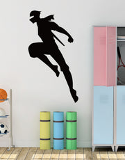 Ninja Fighter Flying Wall Decal. Kid's Room Wall Decor. #286