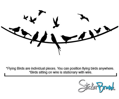 Flying Birds on Wire Wall Decal. #294