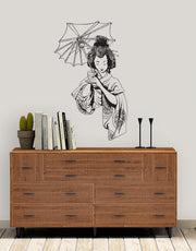 Japanese Geisha Wall Decal. Asian Decor. #295