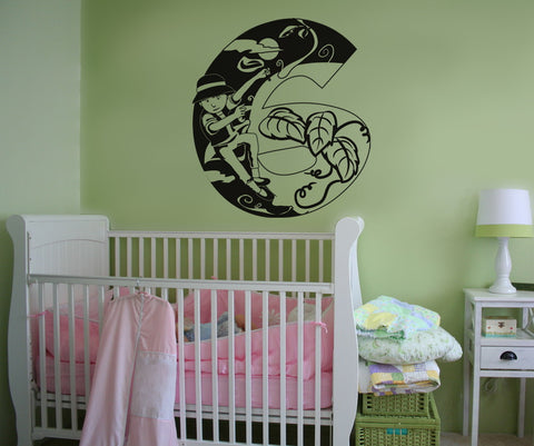 Vinyl Wall Decal Sticker Jack and the Beanstalk Number Six #OS_DC250