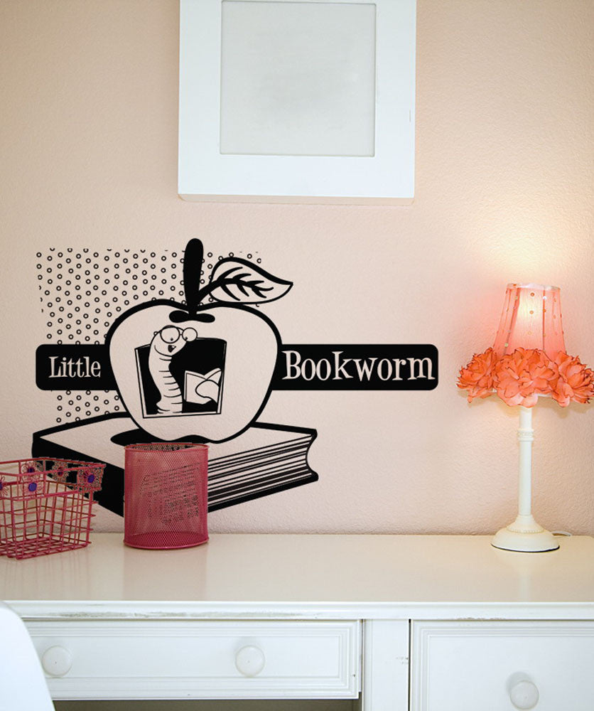 Vinyl Wall Decal Sticker Bookworm #OS_DC216