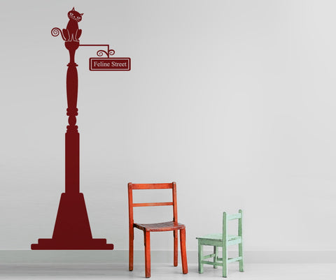 Cat on Lamp Post. Feline Street. Vinyl Wall Decal Sticker. #OS_DC260