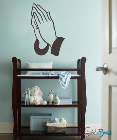 Vinyl Wall Decal Sticker Jesus Praying Hands #306