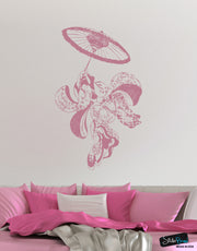 Vintage Japanese Geisha Dancer Wall Decal Asian Theme Decor #307