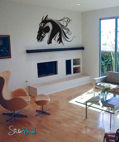 Vinyl Wall Decal Sticker Flowing Horse Head #320