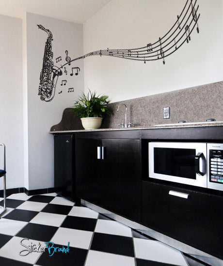 Vinyl Wall Decal Sticker Saxophone Music Notes Sax #326