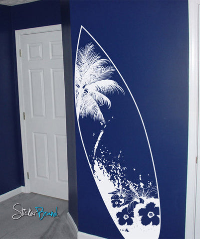 Vinyl Wall Decal Sticker Beach Paradise Surf Board #329