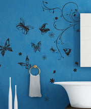 Vinyl Wall Decal Sticker Flower with Butterflies #331