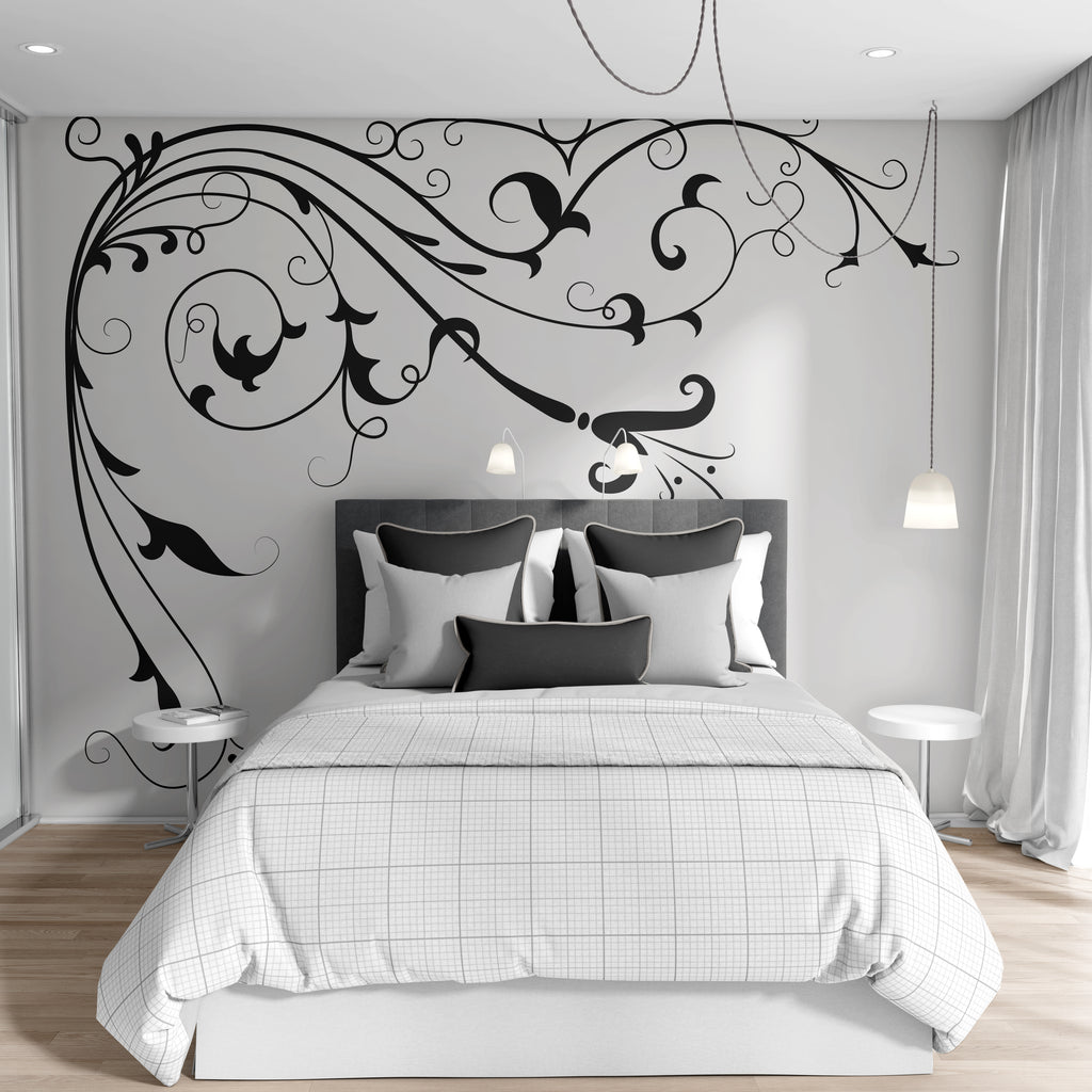 Wall Fabric FloralVineUScolor011ET Removable and Reusable Vinyl Decal Floral Vine Wall Decal