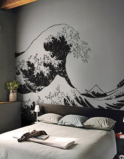white wave bed vinyl wall decal sticker japanese great wave hokusai 363