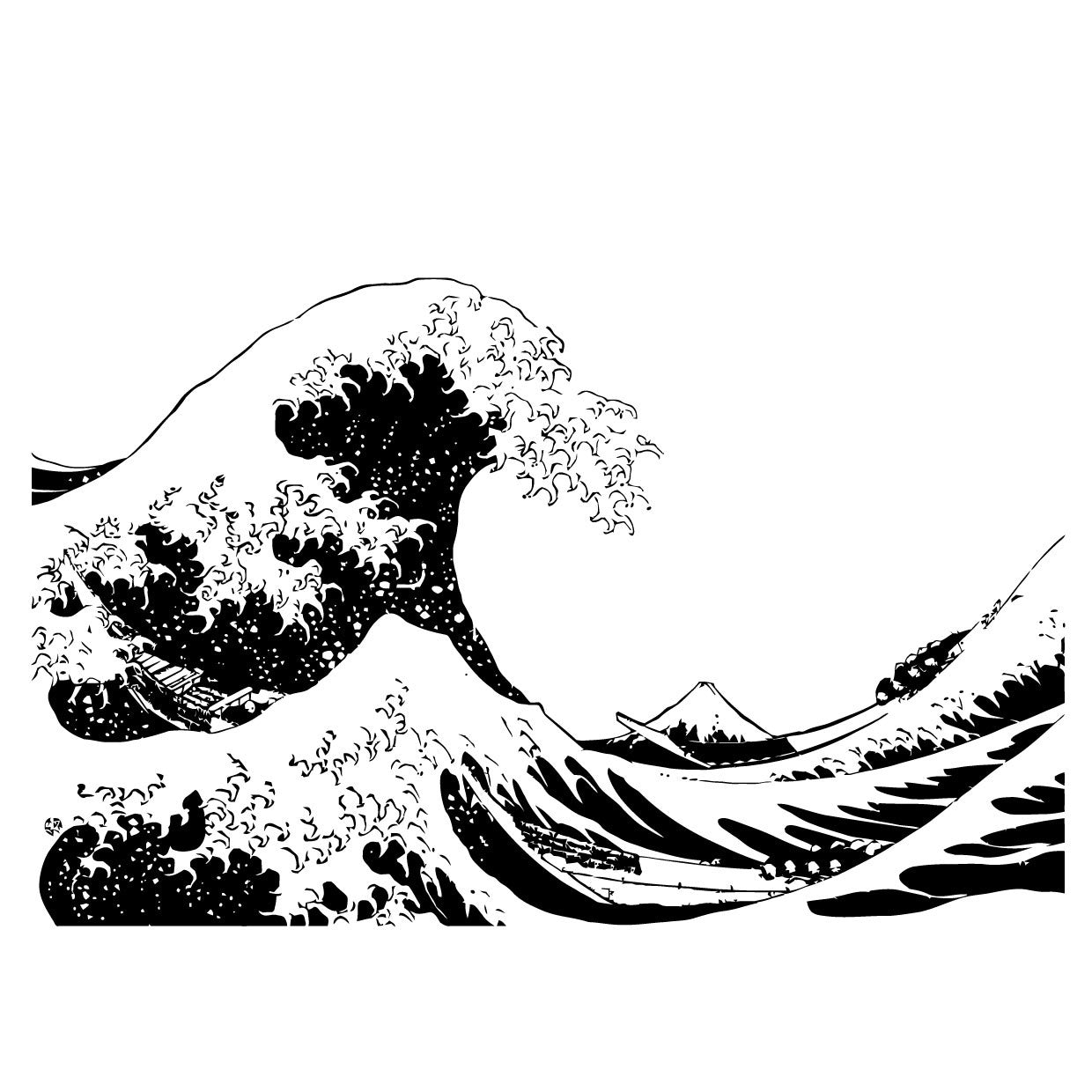 japanese the great wave off kanagawa by hokusai wall decal 363 rh stickerbrand com Wave Outline Clip Art Japanese Cloud Clip Art