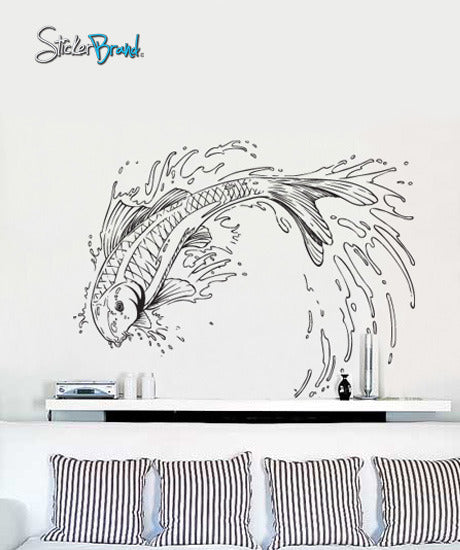 japanese koi fish jumping out of pond wall decal. asian theme decor. #