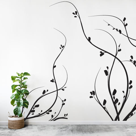 Vinyl Wall Decal Sticker Floral Growing Weeds Large #372