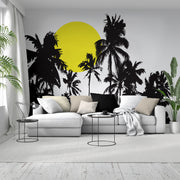 Tropical Night Sunset Palm Tree Wall Decal. #376