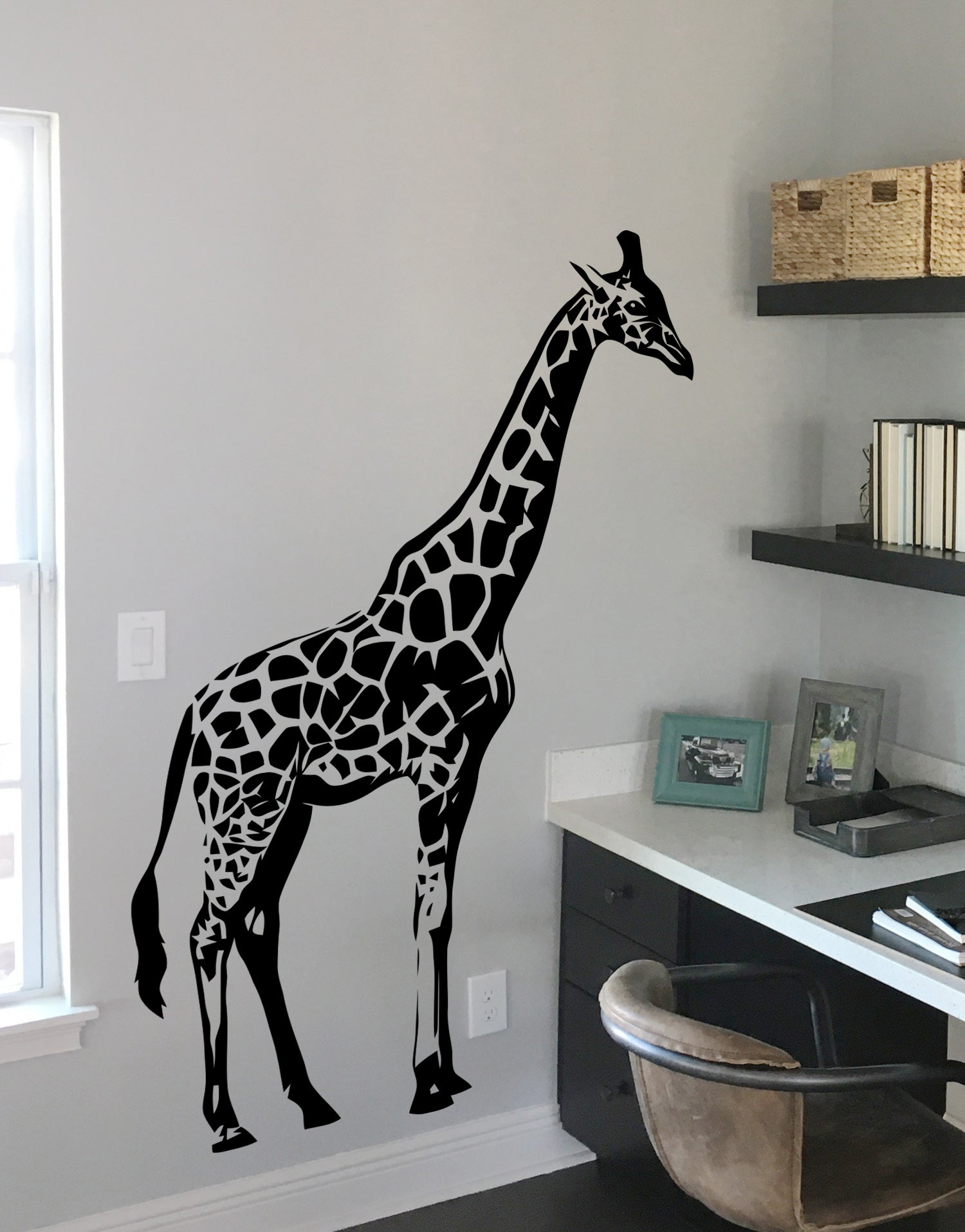 Tall Giraffe Wall Decal for the Nursery Room. #383