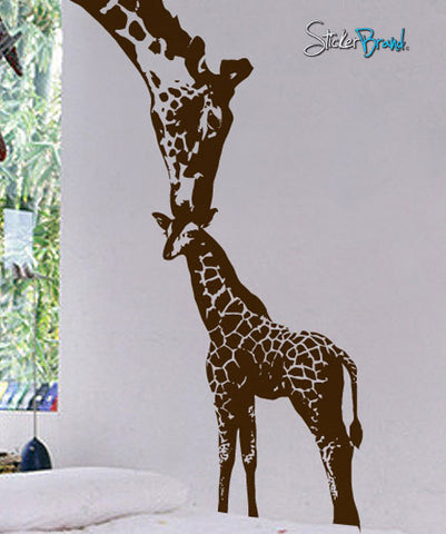 Vinyl Wall Decal Sticker Baby Giraffe w/ Mother #384