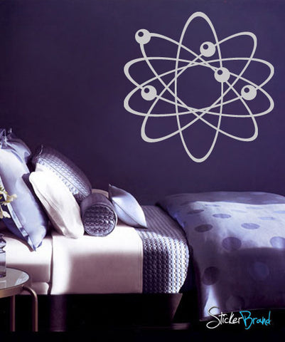 Atom Wall Decal. Electrons, protons and neutrons. Perfect for Science School Decor. Physics. #389