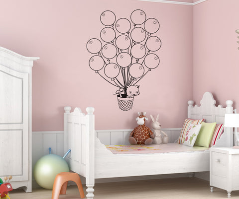 Vinyl Wall Decal Sticker Balloons with Cat #OS_DC267
