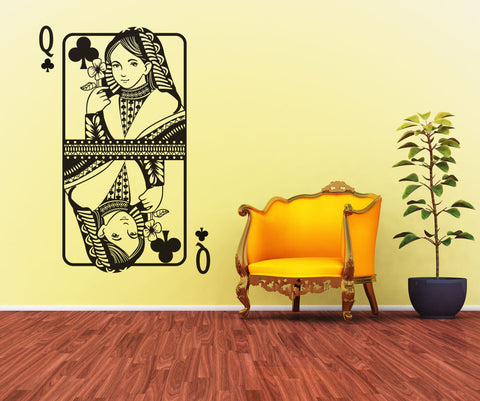 Vinyl Wall Decal Sticker Queen of Clubs #OS_DC358
