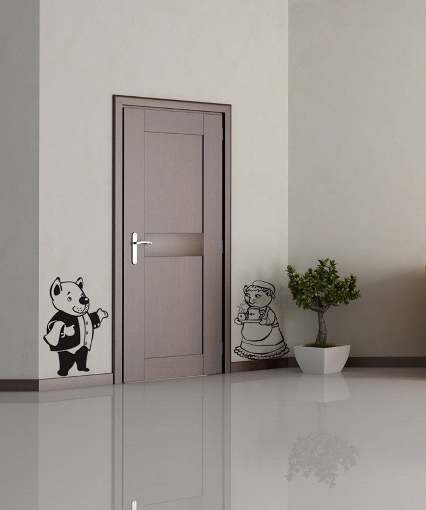 Vinyl Wall Decal Sticker Animal Butler and Maid #OS_DC217