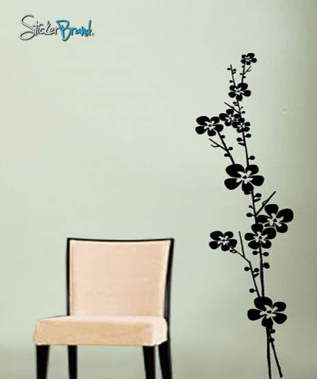vinyl wall decal sticker floral flower stem #412