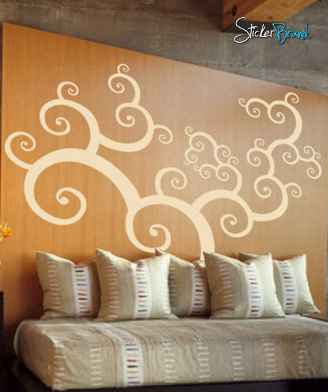 Vinyl Wall Decal Sticker Swirl Tree Floral #421