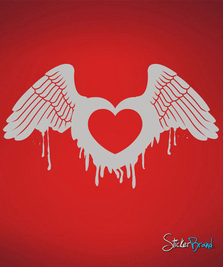 Vinyl Wall Decal Sticker Heart Wings Angel #422