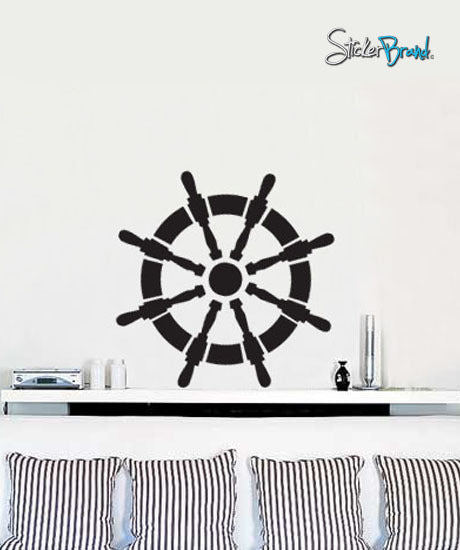 Vinyl Wall Decal Sticker Nautical Wheel Sailor Ship #442