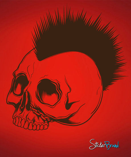Vinyl Wall Decal Sticker Mohawk Skull #448
