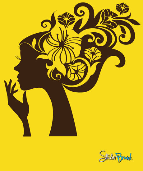 Vinyl Wall Decal Sticker Girl Flower Hair #470
