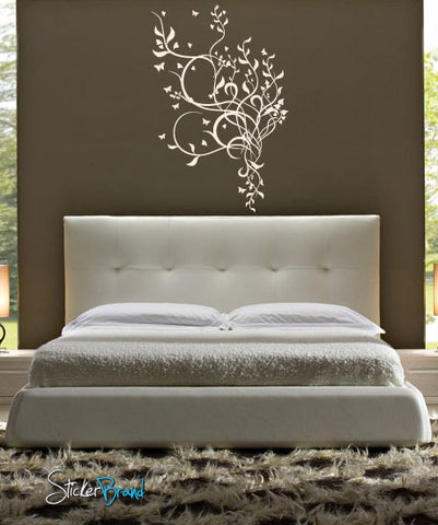 Vinyl Wall Art Decal Sticker Floral Butterfly Flower #478