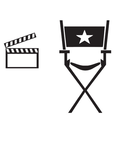 Director's chair and Movie clapboard Wall Decal. Man Cave Accessory. #479