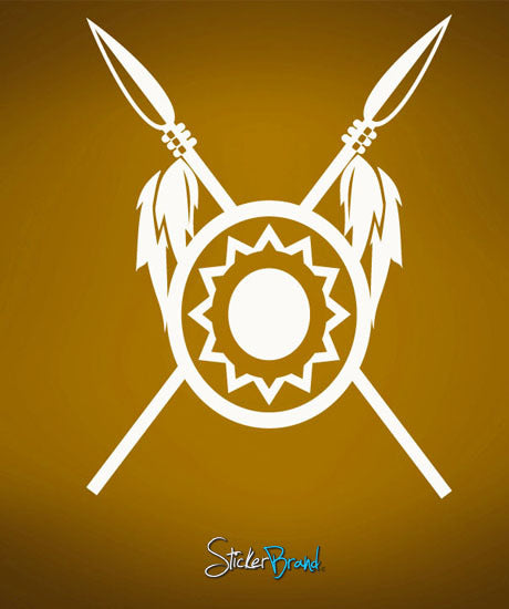 Vinyl Wall Decal Sticker Indian Tribe Spear Shield #487