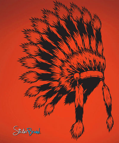 Vinyl Wall Decal Sticker Indian Head Dress #493
