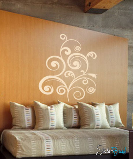 Vinyl Wall Decal Sticker Swirl Floral Curves #497