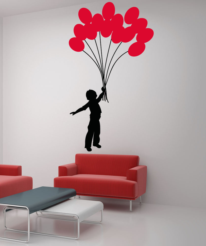 Vinyl Wall Decal Sticker Boy with Balloon Bouquet #5007