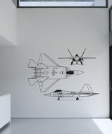 Vinyl Wall Decal Sticker F22 Jet Angles #5009