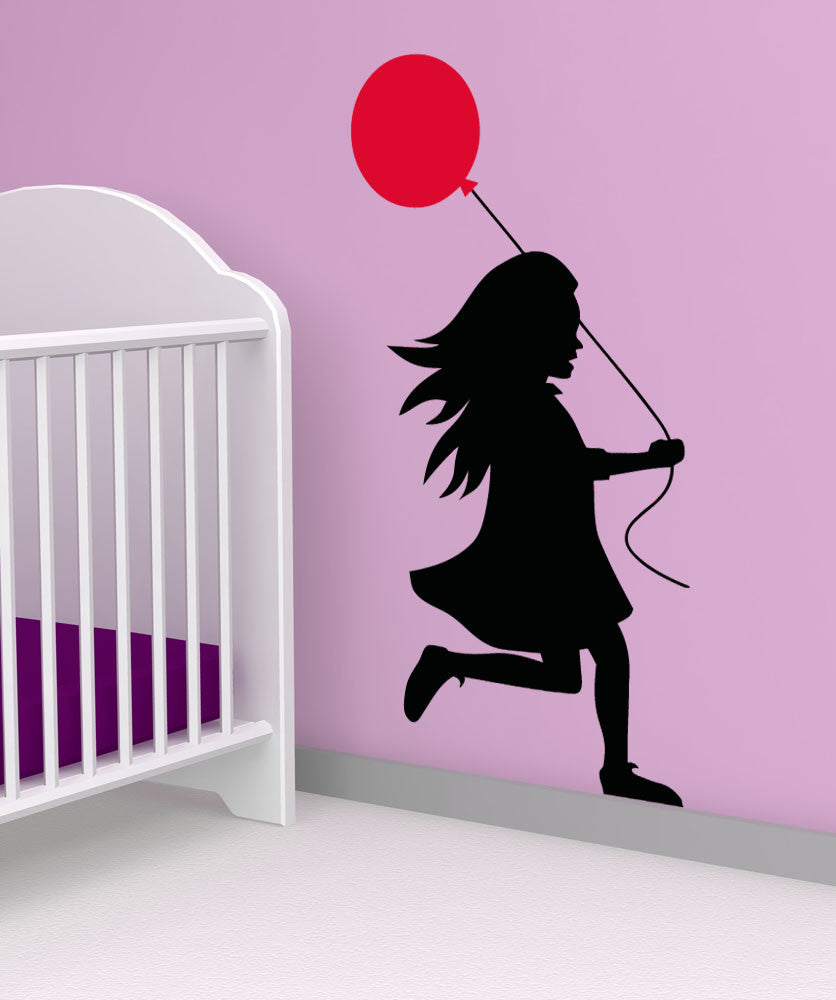 Vinyl Wall Decal Sticker Girl With Balloon #5017