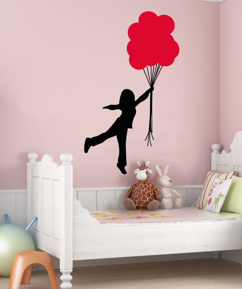 Vinyl Wall Decal Sticker Girl With Balloon Bouquet #5018