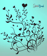 Vinyl Wall Decal Sticker Flower Hearts #501