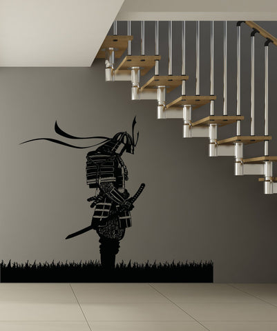 Meditating Japanese Samurai Warrior in Field of Grass Wall Decal. #5024