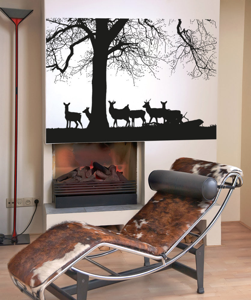 Vinyl Wall Decal Sticker Deers by Tree #5042