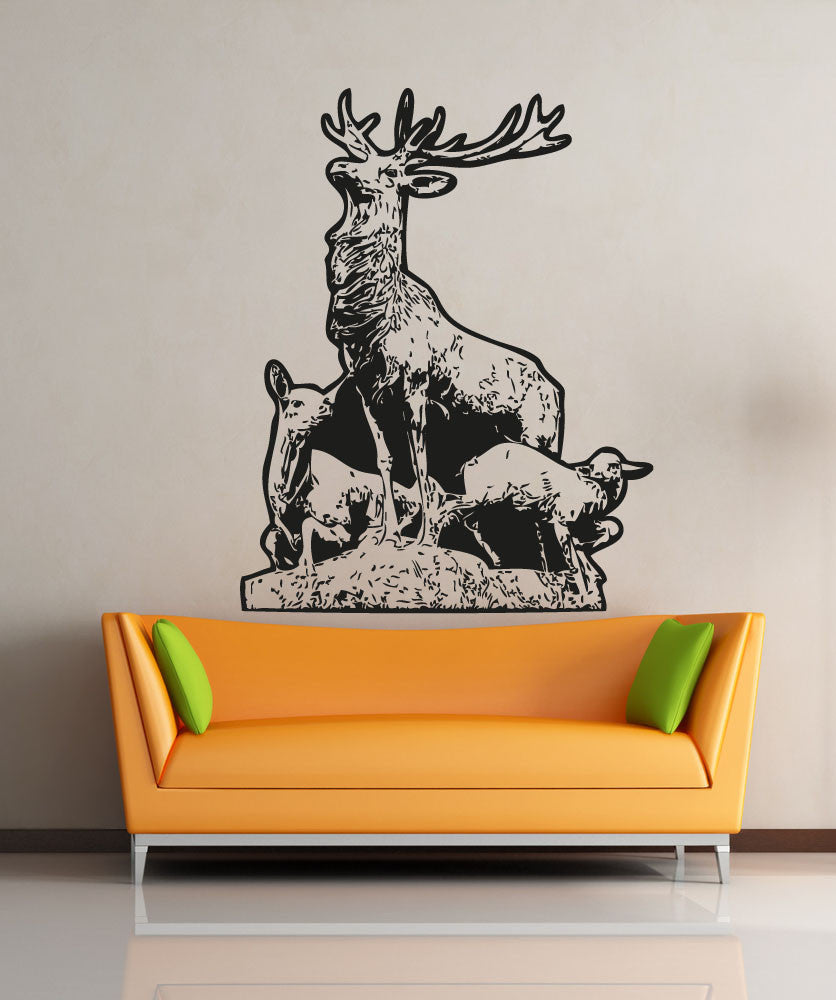 Vinyl Wall Decal Sticker Father Deer and Fawn #5046