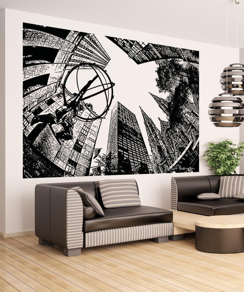 Vinyl Wall Decal Sticker Atlas in Rockefeller Center #5048