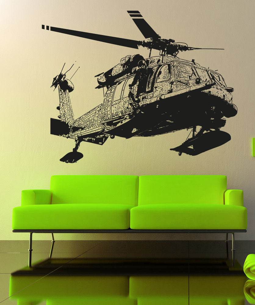 Vinyl Wall Decal Sticker Detailed Helicopter #5053