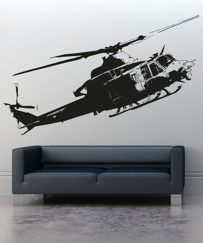 Vinyl Wall Decal Sticker Flying Helicopter #5054